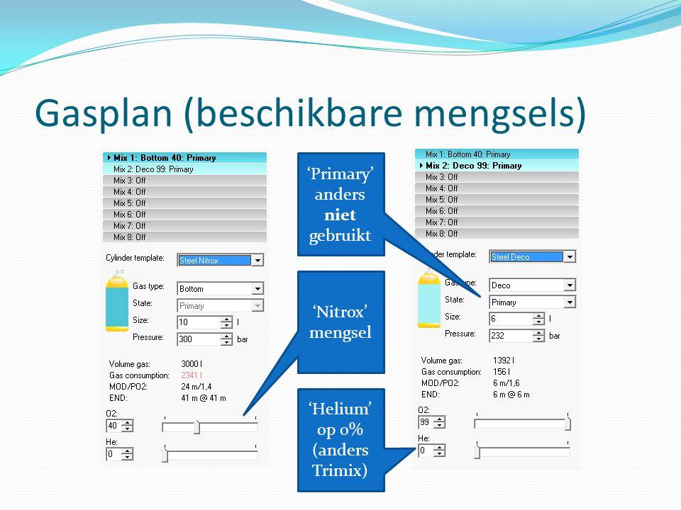 Gasplan (beschikbare mengsels) 'Primary' anders niet gebruikt 'Helium' op 0% (anders Trimix) 'Nitrox' mengsel