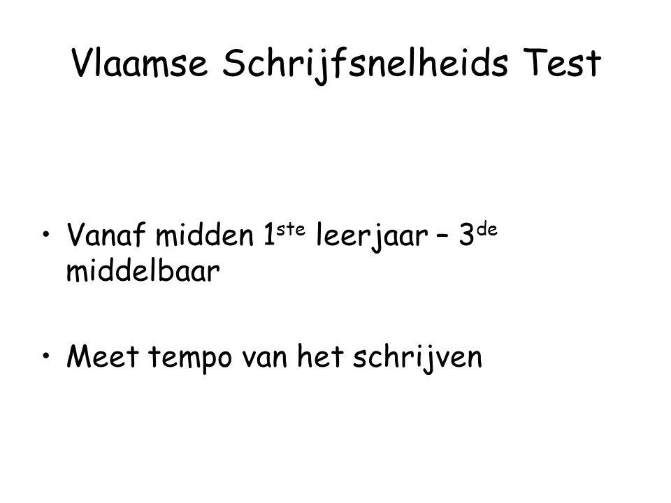 Vlaamse Schrijfsnelheids Test Vanaf midden 1 ste leerjaar – 3 de middelbaar Meet tempo van het schrijven