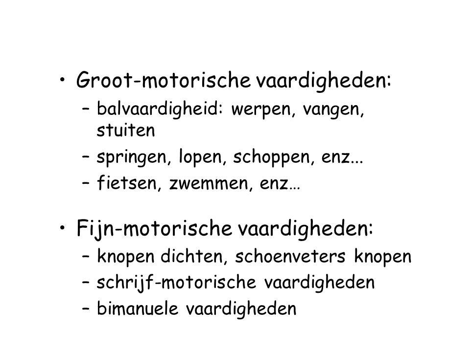 Groot-motorische vaardigheden: –balvaardigheid: werpen, vangen, stuiten –springen, lopen, schoppen, enz... –fietsen, zwemmen, enz… Fijn-motorische vaa
