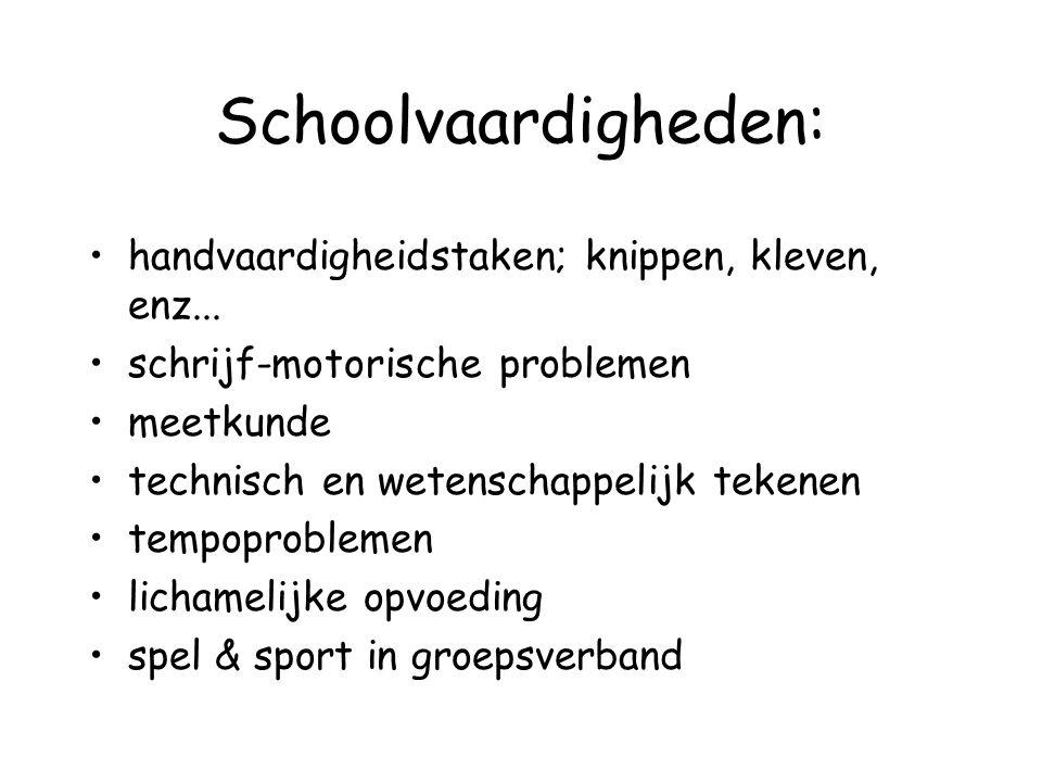 Schoolvaardigheden: handvaardigheidstaken; knippen, kleven, enz... schrijf-motorische problemen meetkunde technisch en wetenschappelijk tekenen tempop