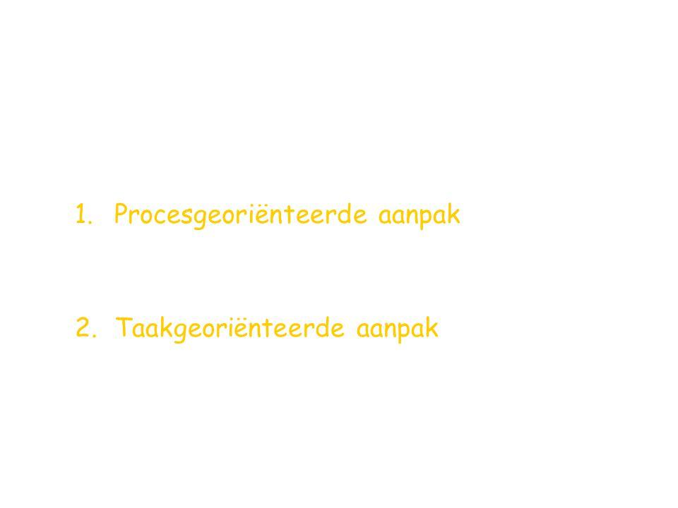 1.Procesgeoriënteerde aanpak 2.Taakgeoriënteerde aanpak