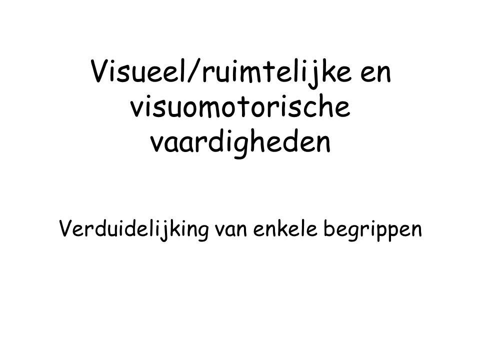 Visueel/ruimtelijke en visuomotorische vaardigheden Verduidelijking van enkele begrippen