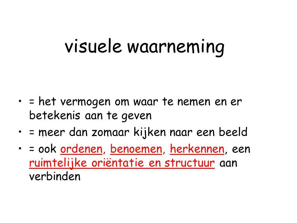 visuele waarneming = het vermogen om waar te nemen en er betekenis aan te geven = meer dan zomaar kijken naar een beeld = ook ordenen, benoemen, herke