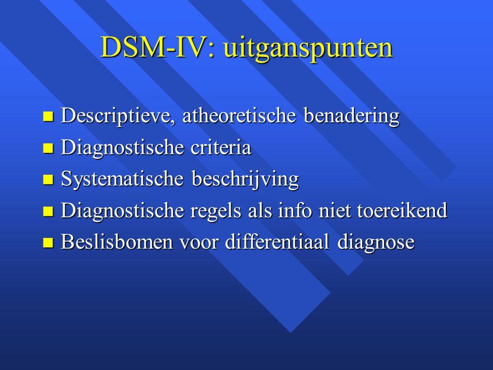 DSM-IV: uitganspunten Descriptieve, atheoretische benadering Descriptieve, atheoretische benadering Diagnostische criteria Diagnostische criteria Systematische beschrijving Systematische beschrijving Diagnostische regels als info niet toereikend Diagnostische regels als info niet toereikend Beslisbomen voor differentiaal diagnose Beslisbomen voor differentiaal diagnose