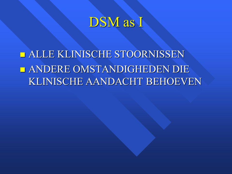 DSM as I ALLE KLINISCHE STOORNISSEN ALLE KLINISCHE STOORNISSEN ANDERE OMSTANDIGHEDEN DIE KLINISCHE AANDACHT BEHOEVEN ANDERE OMSTANDIGHEDEN DIE KLINISCHE AANDACHT BEHOEVEN