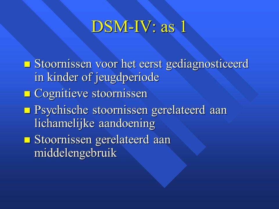DSM-IV: as 1 Stoornissen voor het eerst gediagnosticeerd in kinder of jeugdperiode Stoornissen voor het eerst gediagnosticeerd in kinder of jeugdperiode Cognitieve stoornissen Cognitieve stoornissen Psychische stoornissen gerelateerd aan lichamelijke aandoening Psychische stoornissen gerelateerd aan lichamelijke aandoening Stoornissen gerelateerd aan middelengebruik Stoornissen gerelateerd aan middelengebruik