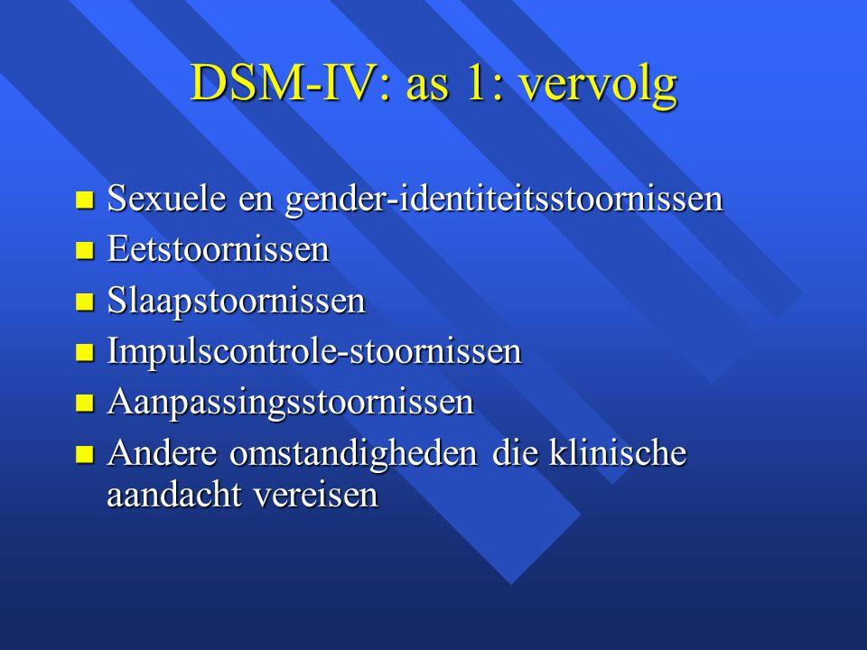 DSM-IV: as 1: vervolg Sexuele en gender-identiteitsstoornissen Sexuele en gender-identiteitsstoornissen Eetstoornissen Eetstoornissen Slaapstoornissen Slaapstoornissen Impulscontrole-stoornissen Impulscontrole-stoornissen Aanpassingsstoornissen Aanpassingsstoornissen Andere omstandigheden die klinische aandacht vereisen Andere omstandigheden die klinische aandacht vereisen