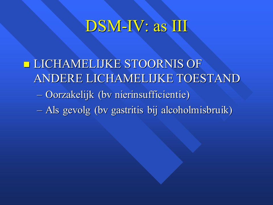 DSM-IV: as III LICHAMELIJKE STOORNIS OF ANDERE LICHAMELIJKE TOESTAND LICHAMELIJKE STOORNIS OF ANDERE LICHAMELIJKE TOESTAND –Oorzakelijk (bv nierinsufficientie) –Als gevolg (bv gastritis bij alcoholmisbruik)