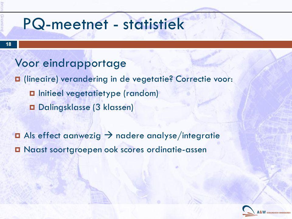PQ-meetnet - statistiek 18 Voor eindrapportage  (lineaire) verandering in de vegetatie.
