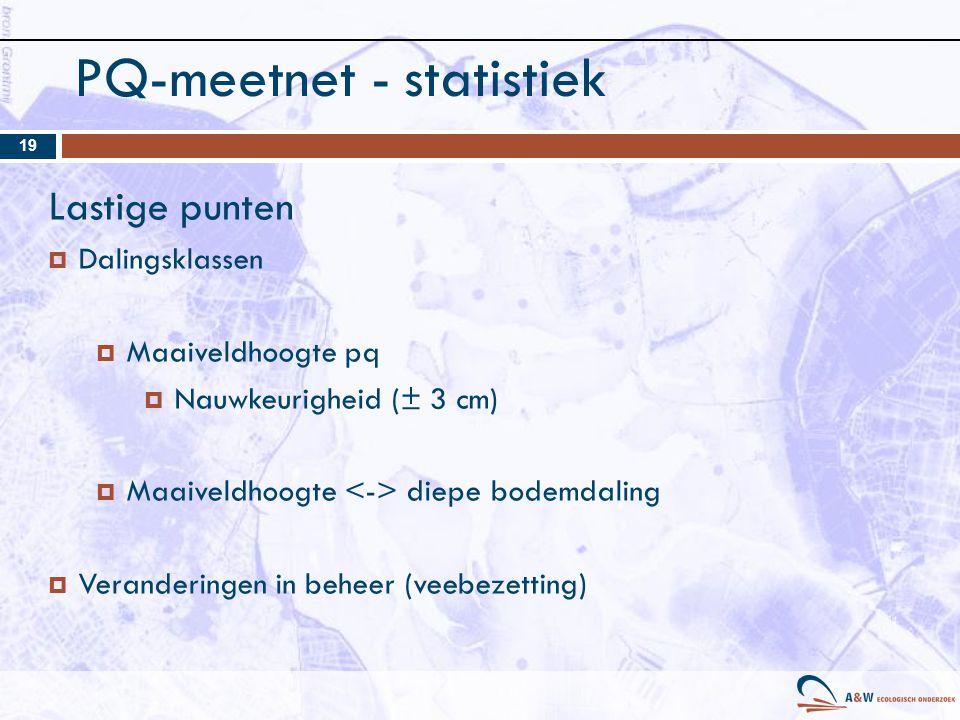 PQ-meetnet - statistiek 19 Lastige punten  Dalingsklassen  Maaiveldhoogte pq  Nauwkeurigheid (± 3 cm)  Maaiveldhoogte diepe bodemdaling  Veranderingen in beheer (veebezetting)
