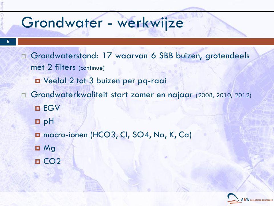 Grondwater - werkwijze  Grondwaterstand: 17 waarvan 6 SBB buizen, grotendeels met 2 filters (continue)  Veelal 2 tot 3 buizen per pq-raai  Grondwaterkwaliteit start zomer en najaar (2008, 2010, 2012)  EGV  pH  macro-ionen (HCO3, Cl, SO4, Na, K, Ca)  Mg  CO2 5