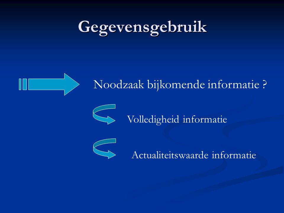Gegevensgebruik Noodzaak bijkomende informatie ? Volledigheid informatie Actualiteitswaarde informatie