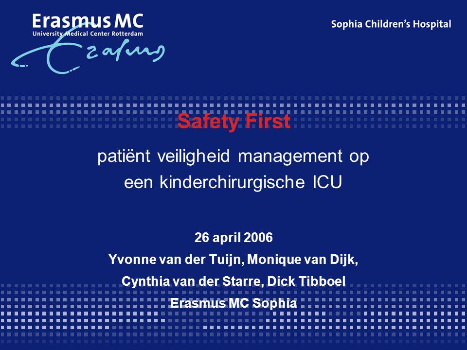 Safety First patiënt veiligheid management op een kinderchirurgische ICU 26 april 2006 Yvonne van der Tuijn, Monique van Dijk, Cynthia van der Starre, Dick Tibboel Erasmus MC Sophia
