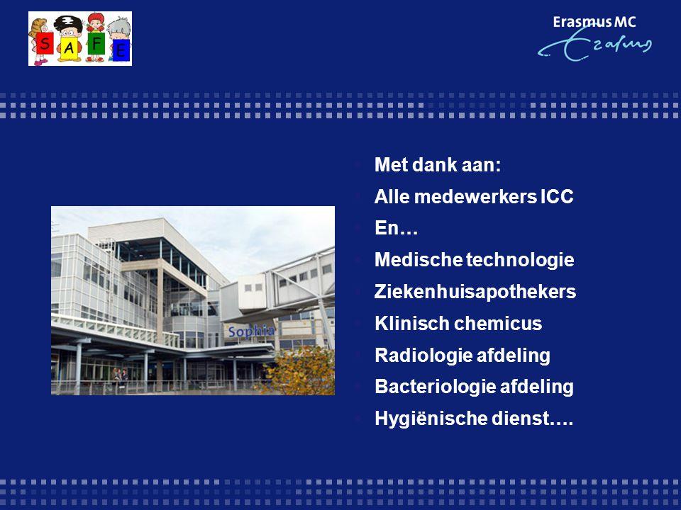  Met dank aan:  Alle medewerkers ICC  En…  Medische technologie  Ziekenhuisapothekers  Klinisch chemicus  Radiologie afdeling  Bacteriologie afdeling  Hygiënische dienst….