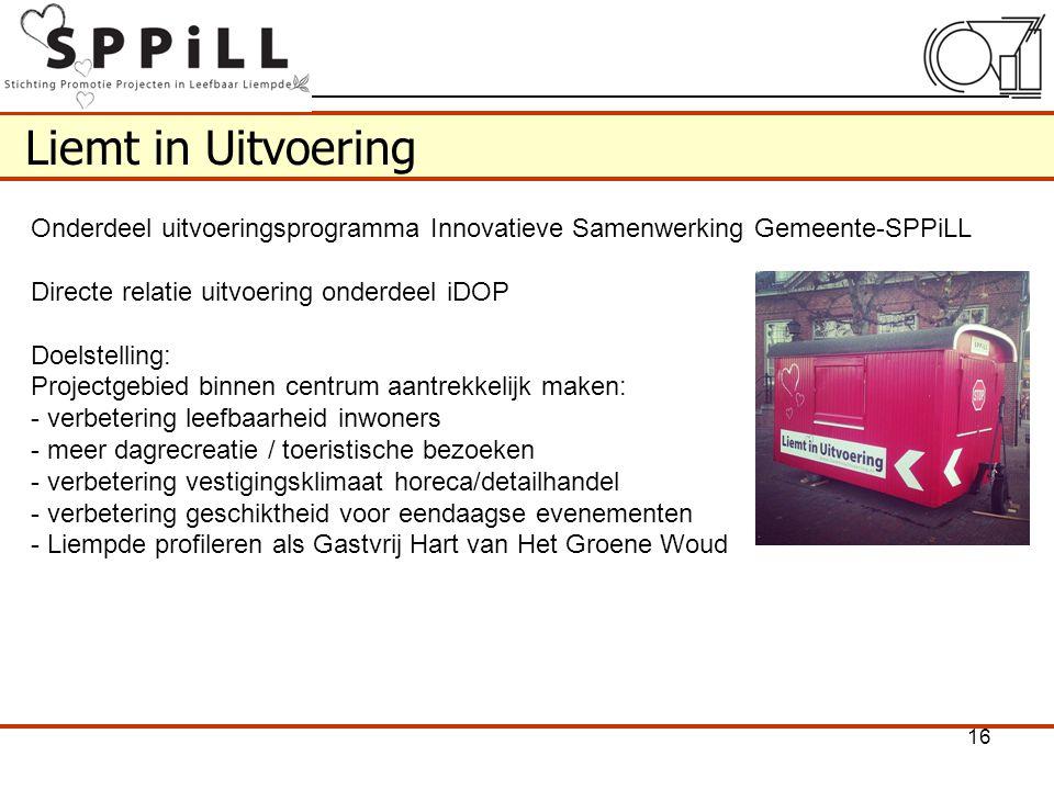 Liemt in Uitvoering Onderdeel uitvoeringsprogramma Innovatieve Samenwerking Gemeente-SPPiLL Directe relatie uitvoering onderdeel iDOP Doelstelling: Pr