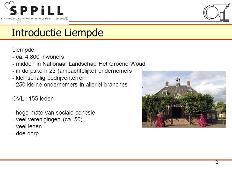 Introductie Liempde Liempde: - ca. 4.800 inwoners - midden in Nationaal Landschap Het Groene Woud - in dorpskern 23 (ambachtelijke) ondernemers - klei