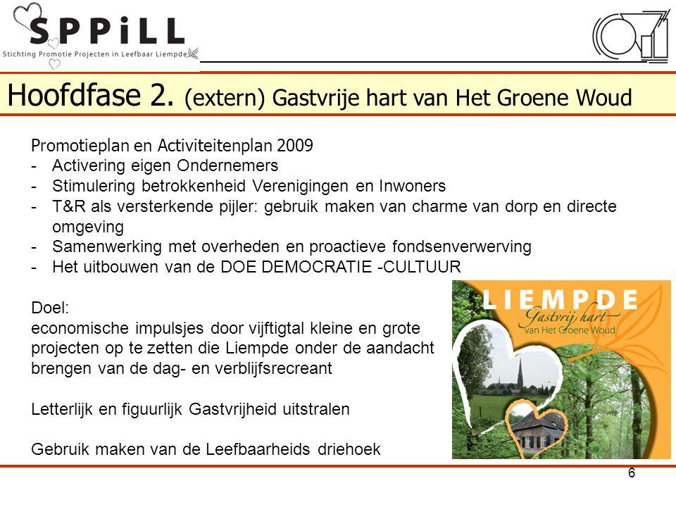Hoofdfase 2. (extern) Gastvrije hart van Het Groene Woud Promotieplan en Activiteitenplan 2009 -Activering eigen Ondernemers -Stimulering betrokkenhei