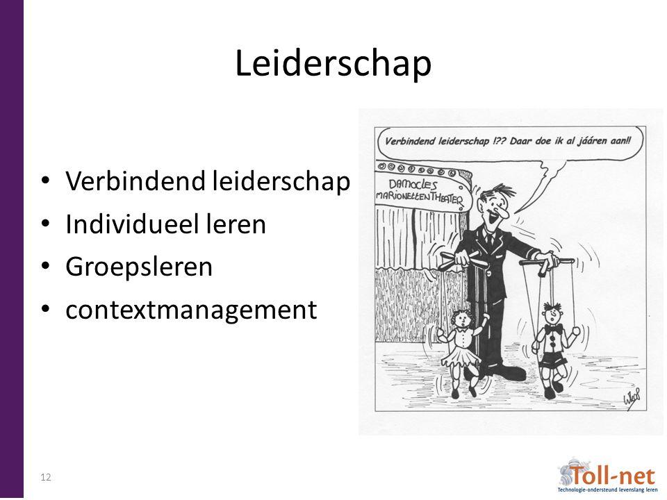 Leiderschap Verbindend leiderschap Individueel leren Groepsleren contextmanagement 12