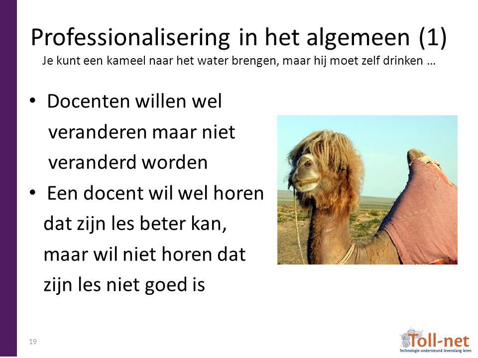 Professionalisering in het algemeen (1) Je kunt een kameel naar het water brengen, maar hij moet zelf drinken … Docenten willen wel veranderen maar niet veranderd worden Een docent wil wel horen dat zijn les beter kan, maar wil niet horen dat zijn les niet goed is 19