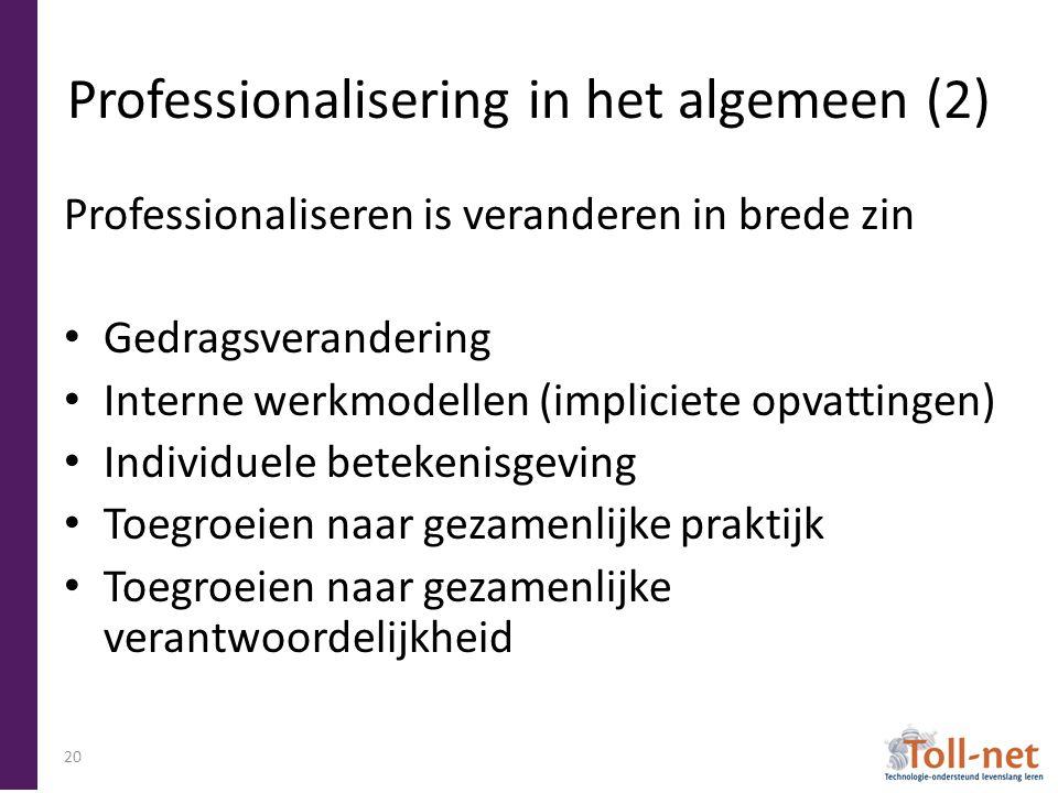 Professionalisering in het algemeen (2) Professionaliseren is veranderen in brede zin Gedragsverandering Interne werkmodellen (impliciete opvattingen) Individuele betekenisgeving Toegroeien naar gezamenlijke praktijk Toegroeien naar gezamenlijke verantwoordelijkheid 20