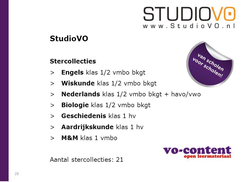 StudioVO Stercollecties > Engels klas 1/2 vmbo bkgt > Wiskunde klas 1/2 vmbo bkgt > Nederlands klas 1/2 vmbo bkgt + havo/vwo > Biologie klas 1/2 vmbo