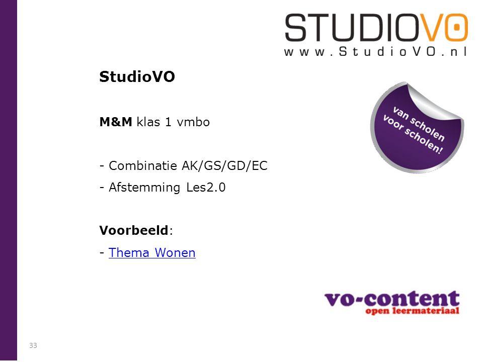 StudioVO M&M klas 1 vmbo - Combinatie AK/GS/GD/EC - Afstemming Les2.0 Voorbeeld: - Thema WonenThema Wonen 33