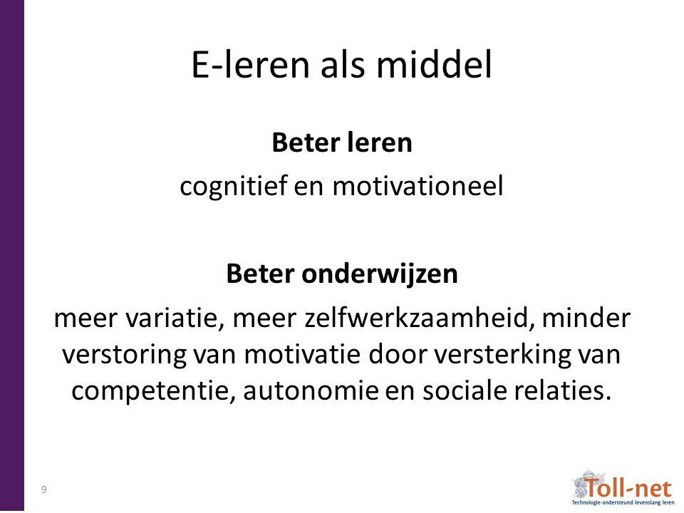 E-leren als middel Beter leren cognitief en motivationeel Beter onderwijzen meer variatie, meer zelfwerkzaamheid, minder verstoring van motivatie door