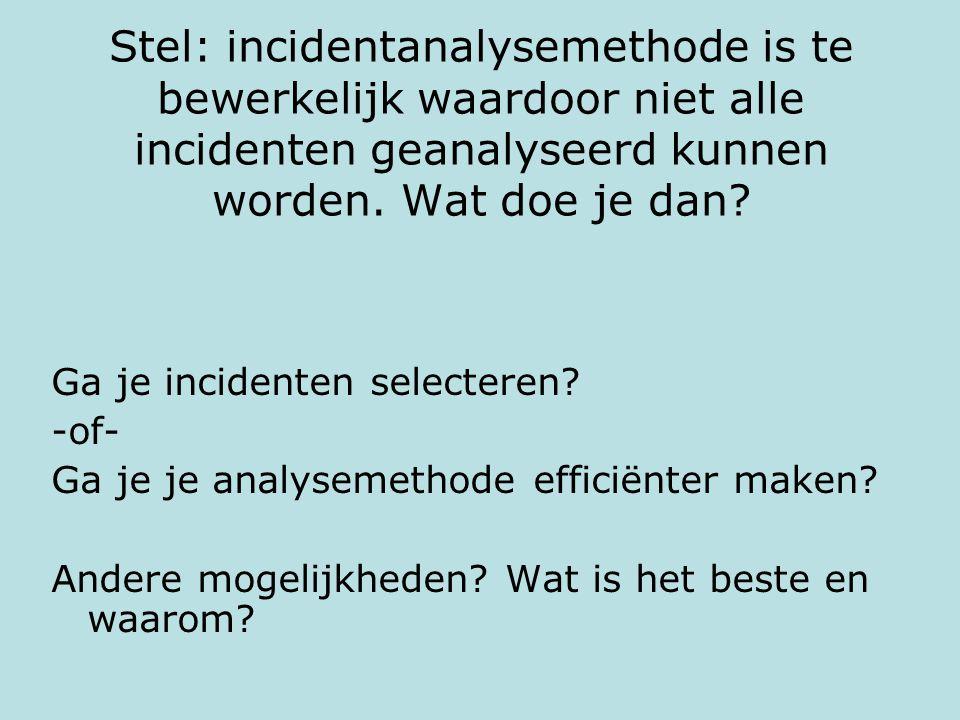 Stel: incidentanalysemethode is te bewerkelijk waardoor niet alle incidenten geanalyseerd kunnen worden. Wat doe je dan? Ga je incidenten selecteren?