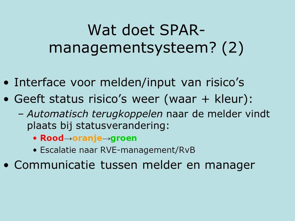 Wat doet SPAR- managementsysteem? (2) Interface voor melden/input van risico's Geeft status risico's weer (waar + kleur): –Automatisch terugkoppelen n