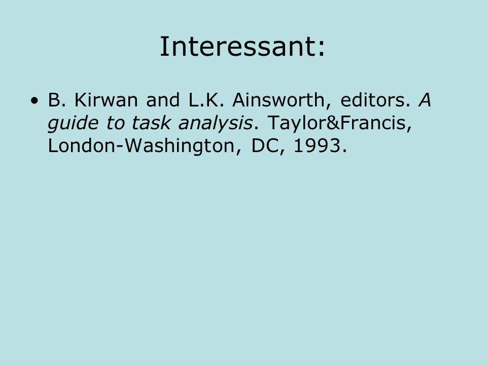 Interessant: B.Kirwan and L.K. Ainsworth, editors.