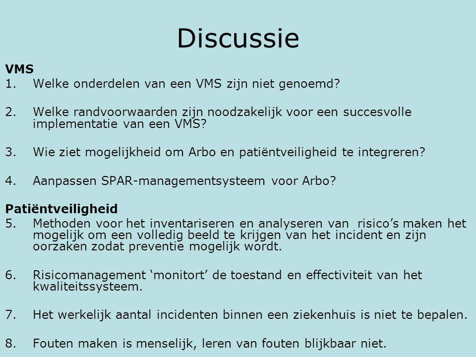 Discussie VMS 1.Welke onderdelen van een VMS zijn niet genoemd? 2.Welke randvoorwaarden zijn noodzakelijk voor een succesvolle implementatie van een V