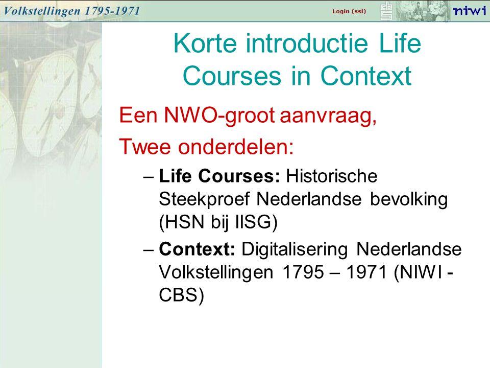 Korte introductie Life Courses in Context Een NWO-groot aanvraag, Twee onderdelen: –Life Courses: Historische Steekproef Nederlandse bevolking (HSN bij IISG) –Context: Digitalisering Nederlandse Volkstellingen 1795 – 1971 (NIWI - CBS)