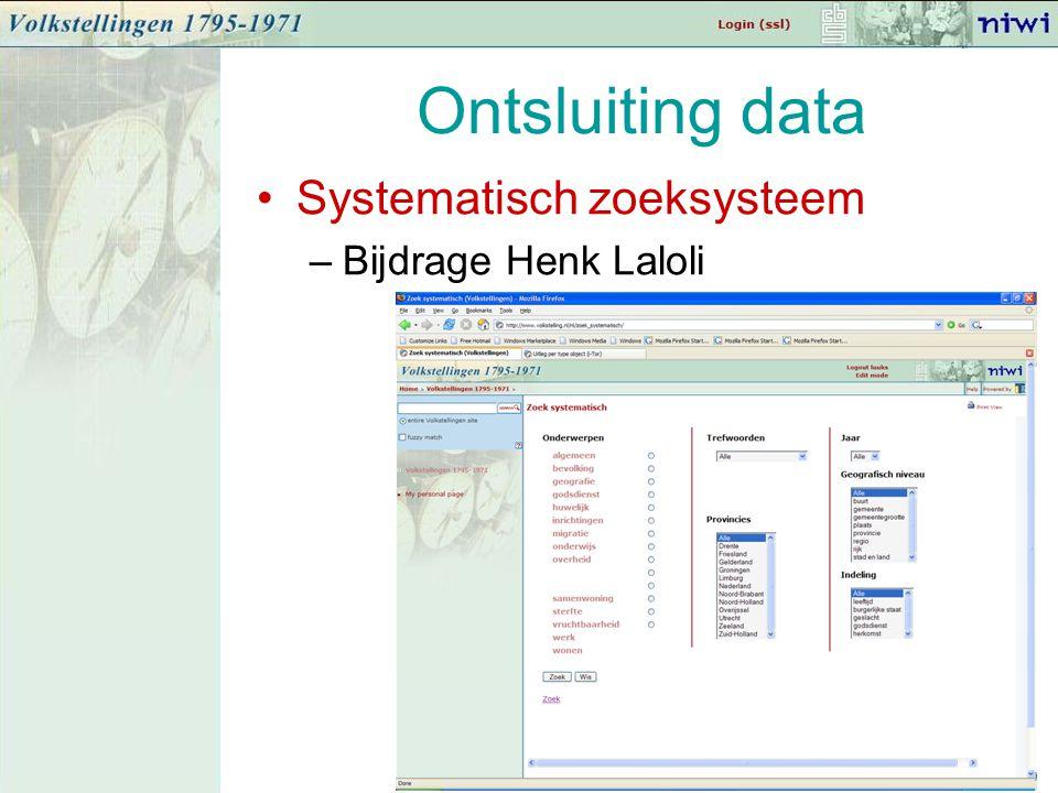 Ontsluiting data Systematisch zoeksysteem –Bijdrage Henk Laloli