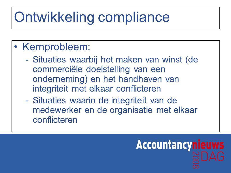 Ontwikkeling compliance Kernprobleem: -Situaties waarbij het maken van winst (de commerciële doelstelling van een onderneming) en het handhaven van in