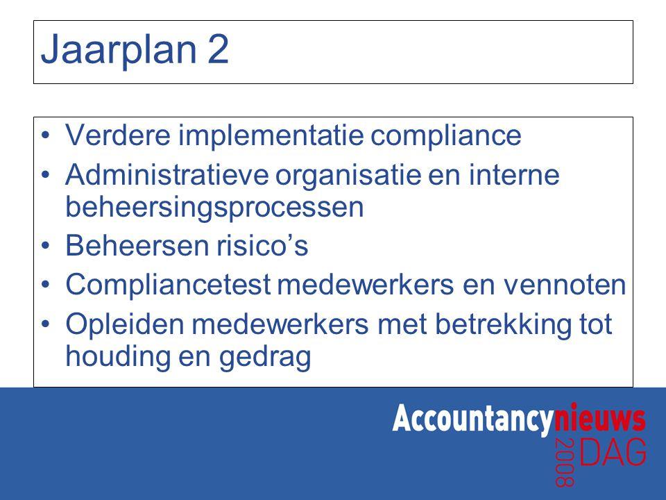 Jaarplan 2 Verdere implementatie compliance Administratieve organisatie en interne beheersingsprocessen Beheersen risico's Compliancetest medewerkers