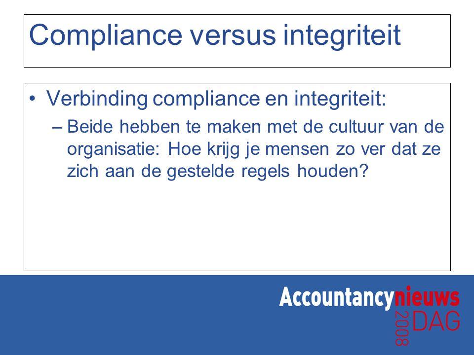 Randvoorwaarden handhaven compliance en integriteit De structuur van de organisatie –Risico van doorbreken integriteit groter dan gedacht De cultuur van de organisatie –De waarden en normen –Stabiel gegeven –Risico's informele structuur