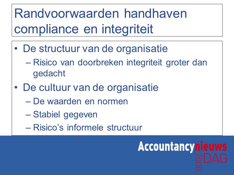 Randvoorwaarden handhaven compliance en integriteit De structuur van de organisatie –Risico van doorbreken integriteit groter dan gedacht De cultuur v