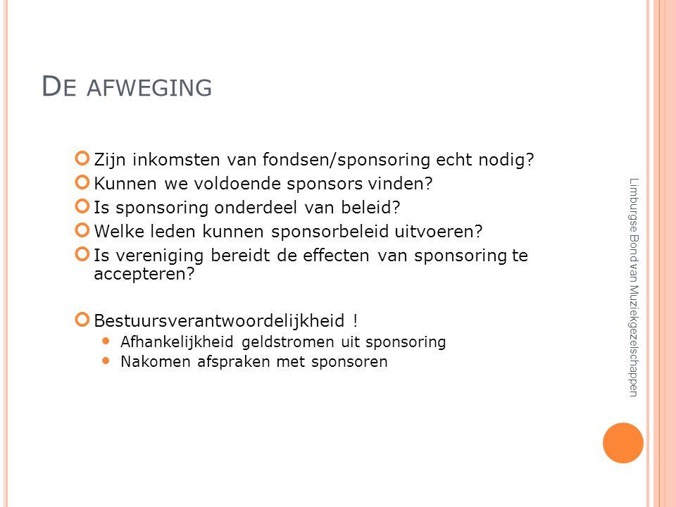 D E AFWEGING Zijn inkomsten van fondsen/sponsoring echt nodig.