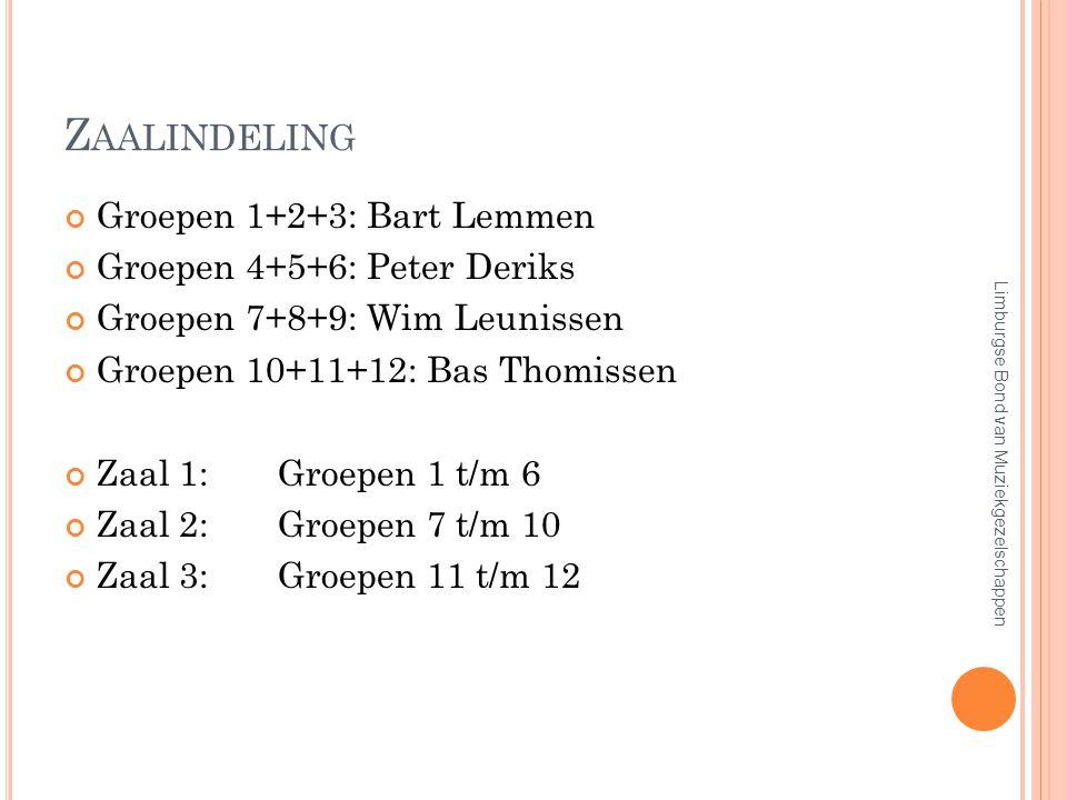 Z AALINDELING Groepen 1+2+3: Bart Lemmen Groepen 4+5+6: Peter Deriks Groepen 7+8+9: Wim Leunissen Groepen 10+11+12: Bas Thomissen Zaal 1:Groepen 1 t/m 6 Zaal 2:Groepen 7 t/m 10 Zaal 3:Groepen 11 t/m 12 Limburgse Bond van Muziekgezelschappen