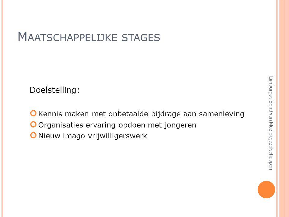 M AATSCHAPPELIJKE STAGES Doelstelling: Kennis maken met onbetaalde bijdrage aan samenleving Organisaties ervaring opdoen met jongeren Nieuw imago vrijwilligerswerk Limburgse Bond van Muziekgezelschappen