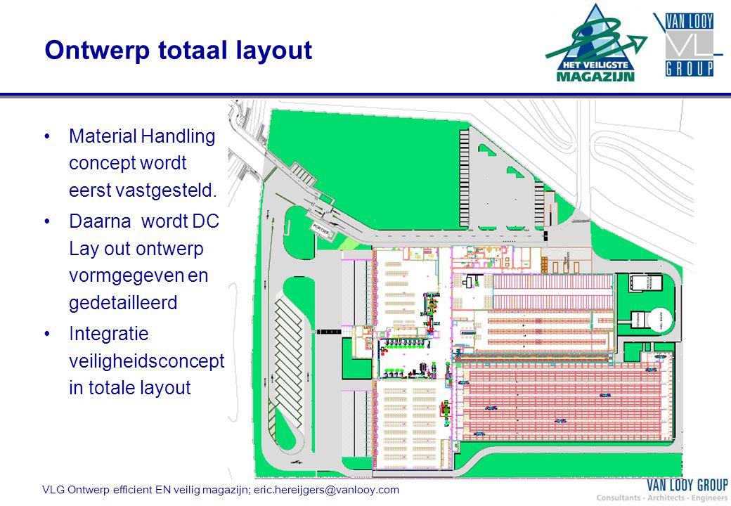 Ontwerp totaal layout VLG Ontwerp efficient EN veilig magazijn; eric.hereijgers@vanlooy.com Material Handling concept wordt eerst vastgesteld. Daarna
