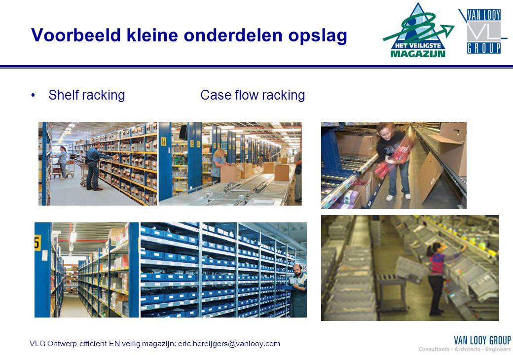 VLG Ontwerp efficient EN veilig magazijn; eric.hereijgers@vanlooy.com Voorbeeld kleine onderdelen opslag Shelf racking Case flow racking