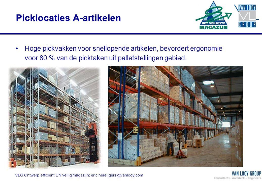 Picklocaties A-artikelen Hoge pickvakken voor snellopende artikelen, bevordert ergonomie voor 80 % van de picktaken uit palletstellingen gebied. VLG O