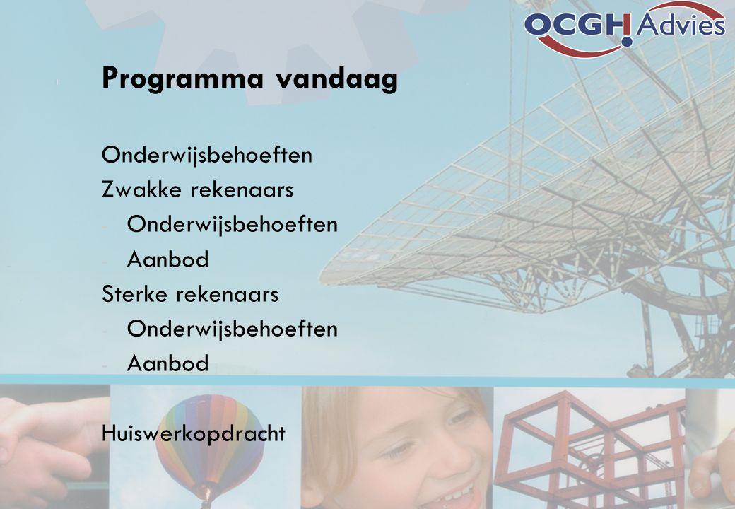 Programma vandaag Onderwijsbehoeften Zwakke rekenaars - Onderwijsbehoeften - Aanbod Sterke rekenaars - Onderwijsbehoeften - Aanbod Huiswerkopdracht
