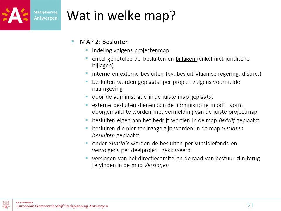 5 |5 | Wat in welke map?  MAP 2: Besluiten  indeling volgens projectenmap  enkel genotuleerde besluiten en bijlagen (enkel niet juridische bijlagen