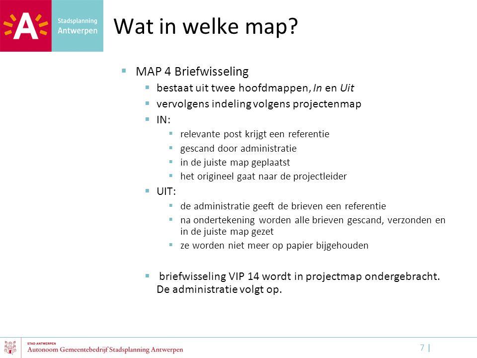 7 |7 | Wat in welke map?  MAP 4 Briefwisseling  bestaat uit twee hoofdmappen, In en Uit  vervolgens indeling volgens projectenmap  IN:  relevante