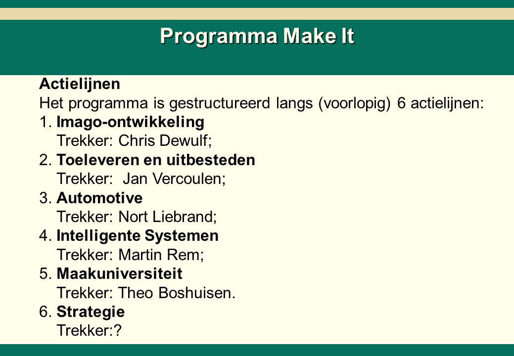 -18- 26218-02-SC6ZNcol-27Mar02-EDr-AMS.ppt Copyright © 2002 by The Boston Consulting Group, B.V. All rights reserved. Programma Make It Actielijnen He