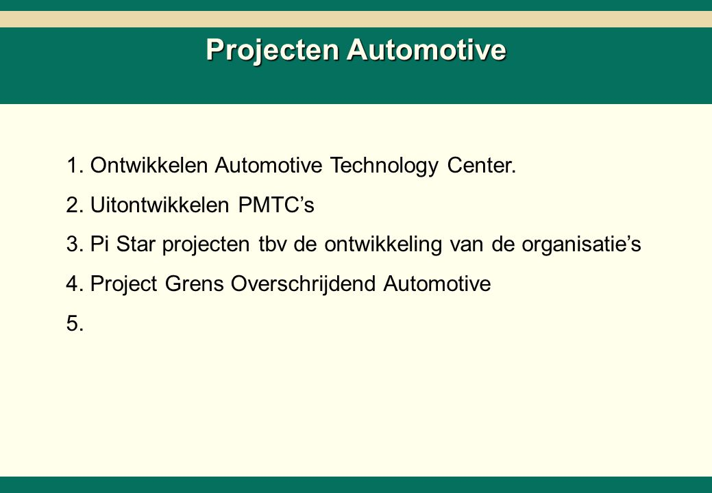 -21- 26218-02-SC6ZNcol-27Mar02-EDr-AMS.ppt Copyright © 2002 by The Boston Consulting Group, B.V. All rights reserved. Projecten Automotive 1. Ontwikke