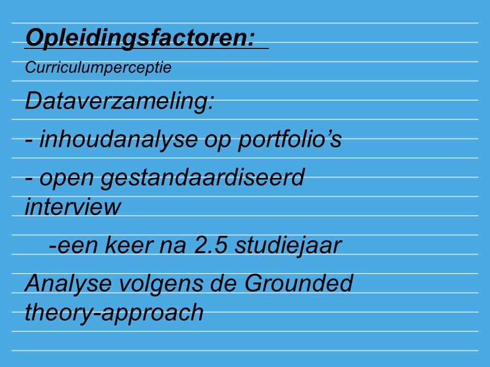 Opleidingsfactoren: Curriculumperceptie Dataverzameling: - inhoudanalyse op portfolio's - open gestandaardiseerd interview -een keer na 2.5 studiejaar