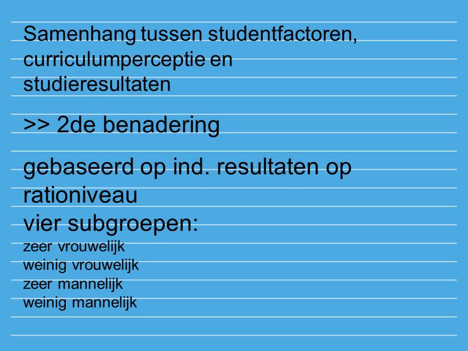 Samenhang tussen studentfactoren, curriculumperceptie en studieresultaten >> 2de benadering gebaseerd op ind. resultaten op rationiveau vier subgroepe